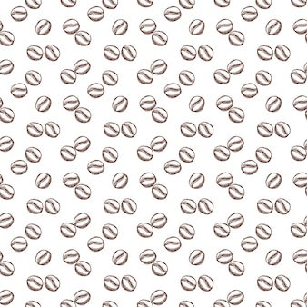 Seamless pattern with coffee bean in outline style