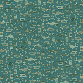 コーヒー豆や調理器具とのシームレスなパターン。アウトラインスタイルの朝食のシンボルとテクスチャ。