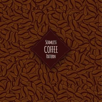 Бесшовный фон с кофейными зернами. мультяшный стиль.