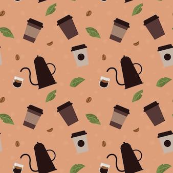 평면 만화 스타일 그림에서 커피 콩 잎과 컵과 원활한 패턴