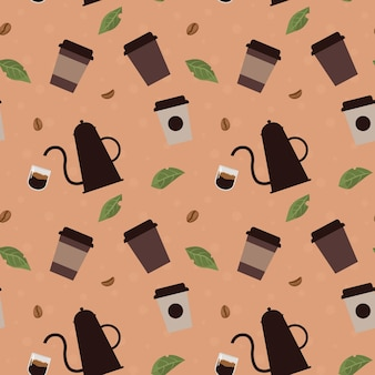 Seamless pattern with coffee beans leaves and cups in flat cartoon style illustration