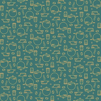 Seamless pattern with coffee beans and utensils. texture with breakfast symbols in outline style.
