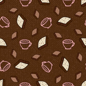 Seamless pattern with coffee and chocolate. hand-drawn vector illustration, paper, textile, fabric, wrapper, wallpaper, vector