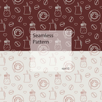 Seamless pattern with coffee and devices for coffee making.
