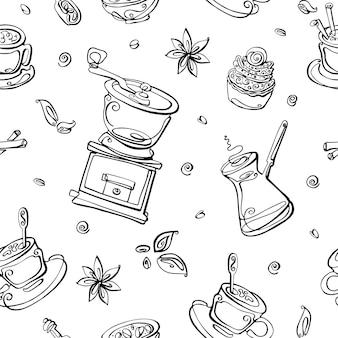 コーヒーの要素とのシームレスなパターン。コーヒーメーカー、コーヒーグラインダー、穀物、アメリカーノ、カップ、バニラ、シナモン。
