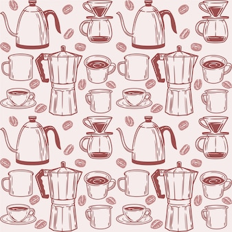 Seamless pattern with coffee elements