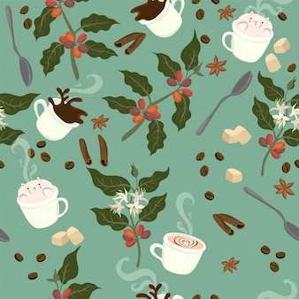 Seamless pattern with coffee, plant, grains, mugs, spoons, on a green background.  graphics.