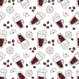 Seamless pattern with coffee and some elements.