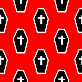 Seamless pattern with coffins and crosses on a red background vector illustration
