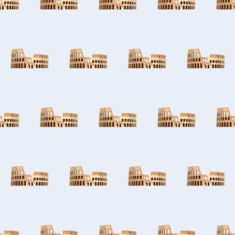 Seamless pattern with coliseum. endless background. good for postcards, prints, wrapping paper and backgrounds. vector.