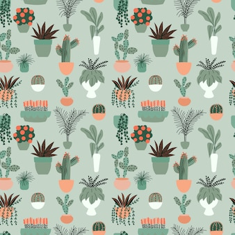 Seamless pattern with collection of hand drawn indoor house plants. collection of potted plants.