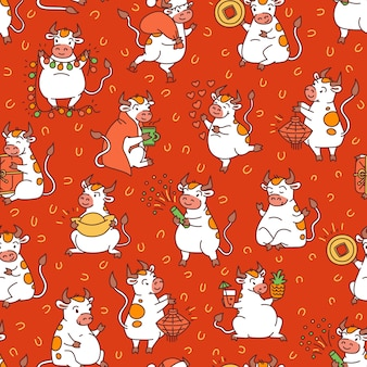 Seamless pattern with a collection of kids characters of white cows.