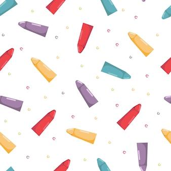 Бесшовный фон с цветными карандашами снова в школу