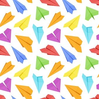 Бесшовные с цветными бумажными самолетами