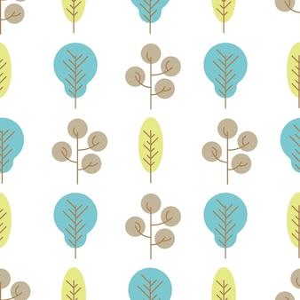 白い背景の上の色の木とのシームレスなパターン。ベクトルイラスト。