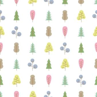 흰색 바탕에 색된 나무와 완벽 한 패턴입니다. 벡터 일러스트 레이 션.