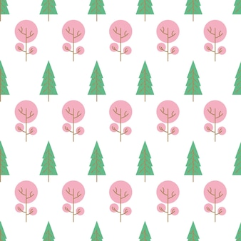 白い背景の上の色の木とのシームレスなパターン。ベクトルイラスト。 Premiumベクター