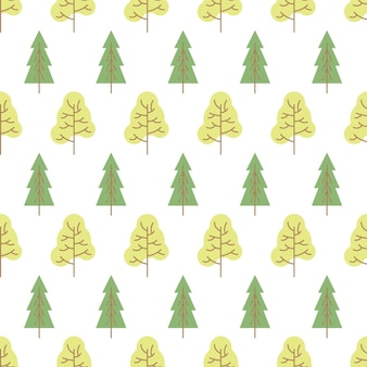 Seamless pattern with colored trees on white background. vector illustration.