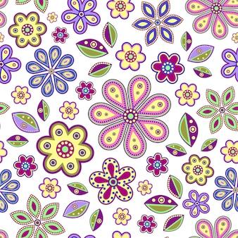Бесшовный фон с красочными абстрактными цветами