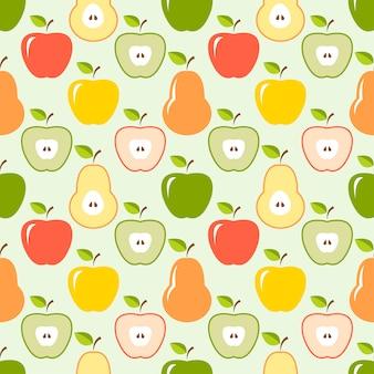 カラフルなリンゴとナシのシームレスパターン