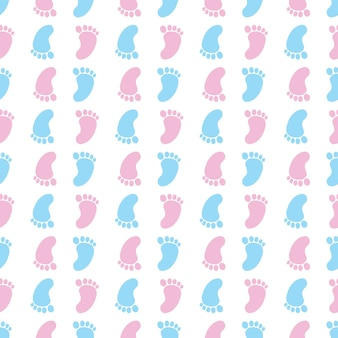 Seamless pattern with colorful baby footprints