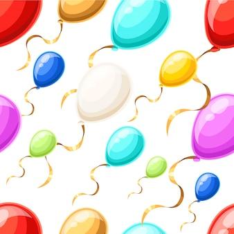 Бесшовный фон с разноцветными шарами с золотой лентой в стиле на белом фоне страницы веб-сайта и мобильного приложения