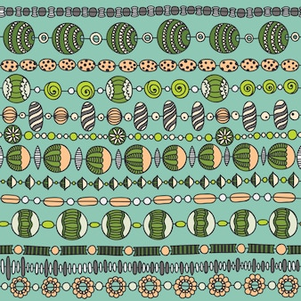 Seamless  pattern with colorful beads