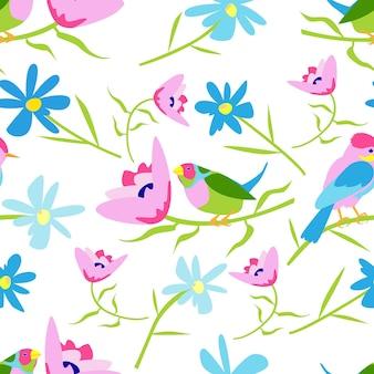 인쇄용 흰색 배경 패턴에 화려한 새와 꽃이 있는 매끄러운 패턴