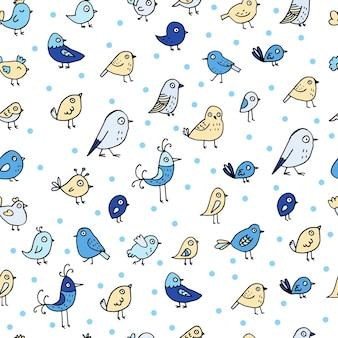 白い背景の上のカラフルな鳥とのシームレスなパターン