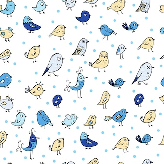 Seamless pattern with colorful birds on white background