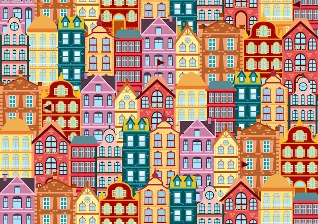 カラフルな明るいファサードオランダの家とのシームレスなパターン。異なる色と形の古い家。伝統的なオランダのベクトル図の家のファサード。