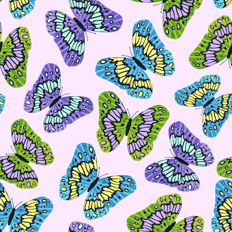 Seamless pattern with colorful butterflies in flat modern style. hand drawn vector illustration for background. texture for print, fabric, textile, wallpaper.