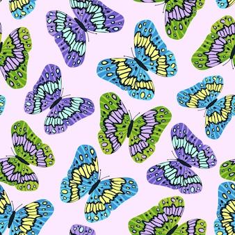 평면 현대적인 스타일의 화려한 나비와 함께 완벽 한 패턴입니다. 배경에 대 한 손으로 그린 벡터 일러스트 레이 션. 인쇄, 직물, 섬유, 벽지 질감.