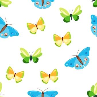 カラフルな蝶とのシームレスなパターンフラットスタイルのベクトル図