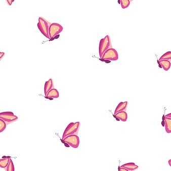 Бесшовный фон с красочными бабочками векторные иллюстрации