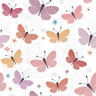 カラフルな蝶とのシームレスなパターン