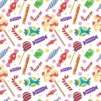 カラフルなキャンディーとロリポップとのシームレスなパターンかわいい甘い背景デザイン要素