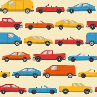 Seamless pattern with colorful cars