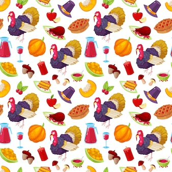 Seamless pattern with colorful cartoon object for thanksgiving day on white background.
