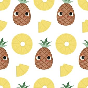 Бесшовный фон с красочными мультяшными ананасами