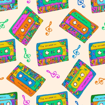 カラフルなカセットとシームレスなパターン。ヒッピースタイル。ラッピング、ファブリック用の音楽テクスチャを落書きします。ベクター