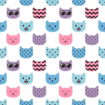 Seamless pattern with colorful cat faces