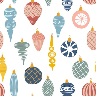 Seamless pattern with colorful christmas ornaments. holiday background