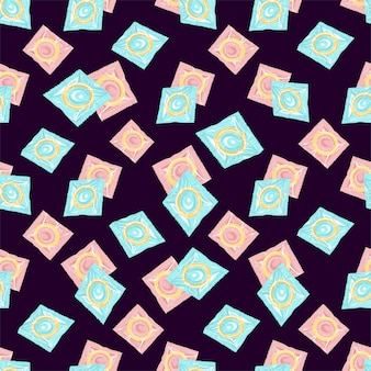 Seamless pattern with colorful  condoms in the package  vector illustration