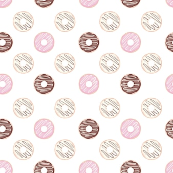 Seamless pattern with colorful dessert with glaze