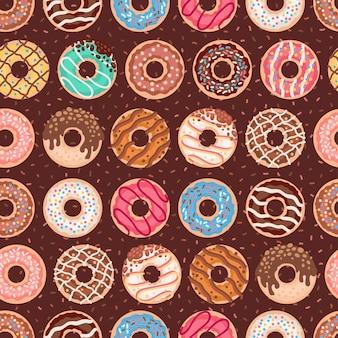 Бесшовные модели с красочными пончиками с глазурью и брызгами