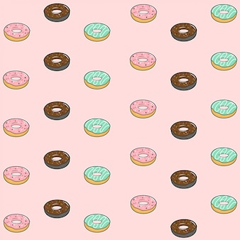 Seamless pattern with colorful donuts with glaze and sprinkles on pastel pink