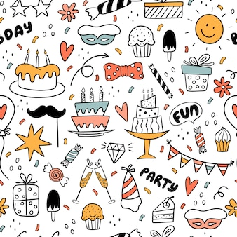 Seamless pattern with colorful doodles with sun, cake, ice cream, candies, arrows, flowers.
