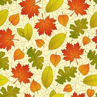 Бесшовный фон с красочными осенними листьями на естественном фоне