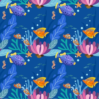 Seamless pattern with colorful fish for fabric textile wallpaper.